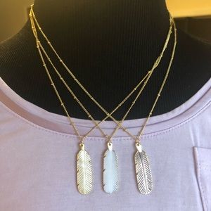 GENUINE Mother of Pearl Feather Necklace 18K GP